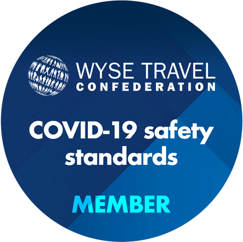 WYSE Travel Confederation COVID-19 safety standards badge.